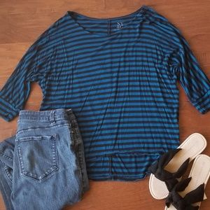 New York & Company Blue and Black Striped Top